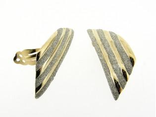 Gouden oorclip goud lijnen met zilver