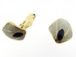 Gouden oorclip saffier kristal met zilver