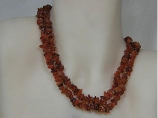 Carneool edelsteen collier met split edelsteentjes,