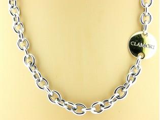 Gouden halsketting met grote jasseron collier schakels