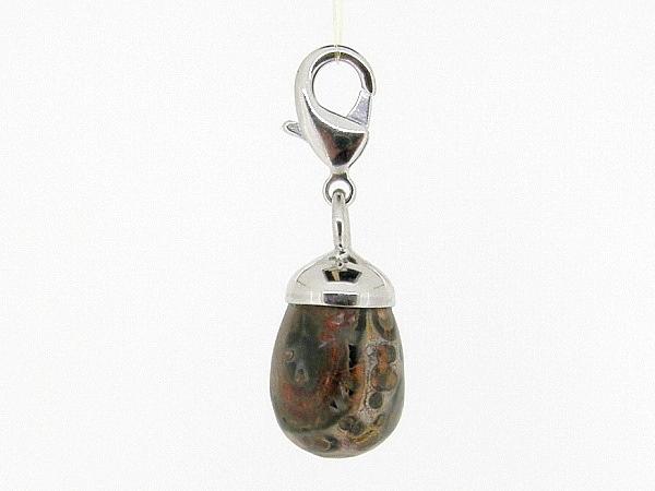 Charm met Leopard Jaspis edelsteen in druppel vorm geslepen