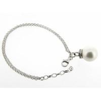 Armband met jasseron schakeltjes en grote parel rijk bezet met heldere kristallen