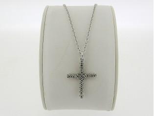 Zilveren Even Milano collier met zilveren kruisje met beiden zijden ingelegde kristallen