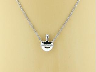 Zilveren Even Milano collier met zilveren hartje en helder ingelegde kristallen
