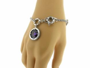 Armband met Amethist gekleurde steen en heldere kristallen