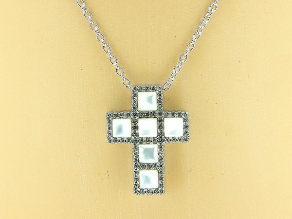 Zilveren ketting jasseron met zilveren kruisje