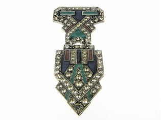Art Deco beweegbare broche met Swarovski kristallen ingelegd en emaille ingekleurd