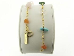 Gouden armbandje met gekleurde split edelsteentjes