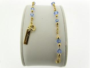 Gouden armbandje met fantasie schakeltjes en saffier Swarovski kristallen