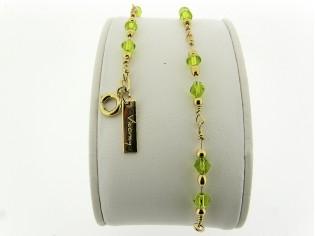 Gouden armbandje met fantasie schakeltjes en Peridoot Olivijn Swarovski kristallen