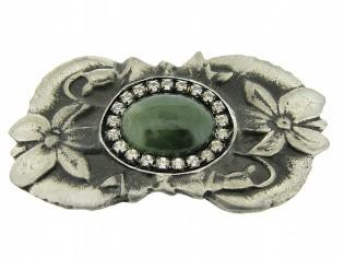 Tinnen broche met Jade edelsteen cabuchon omringd met Swarovski kristallen in zilvertin gezet