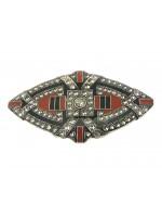 Art Deco broche met bordeaux en zwart emaille ingekleurd voorzien van Swarovski kristallen