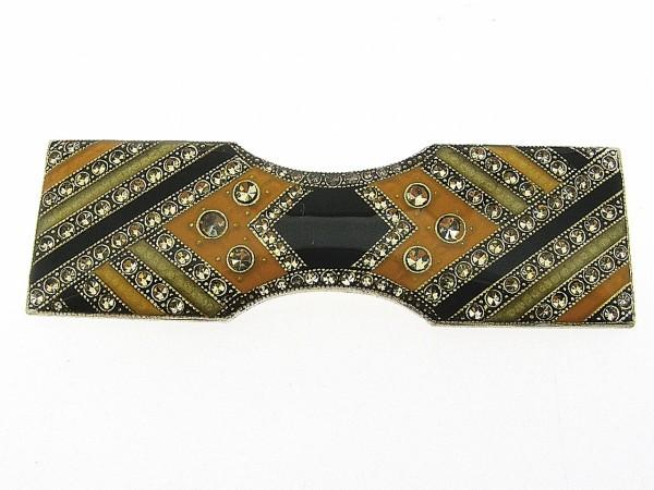 Art Deco broche met Swarovski kristallen en emaille geel groen ingekleurd