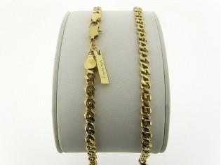 Gouden halsketting fantasie gourmet ketting met afgerond geslepen schakel