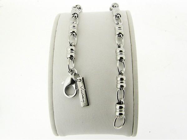 Zilveren armband met fantasie mode schakeltjes en karabijn sluiting