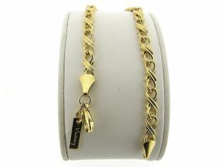 Gouden armband met fantasie dubbele konings schakel