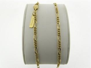 Gouden halsketting figaro colliervlak gediamanteerd geslepen
