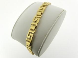 Gouden armbandje met Griekse brede schakeltjes en vlindersluiting