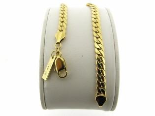 Gouden armbandje met gevlochten slangen schakeltjes
