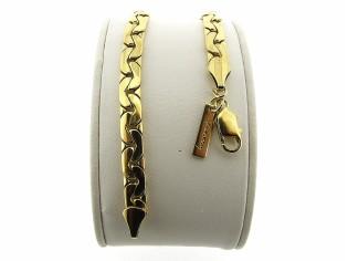 Gouden armband met gevlochten slangen schakeltjes