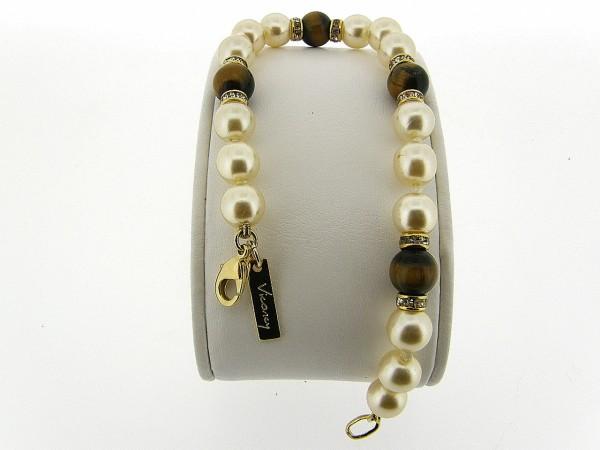 Armbandje met handgeknoopte Boheemse parels en Tijgeroog edelstenen gecombineerd met Swarovski rondellen