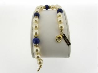 Gouden parel armbandje handgeknoopt met Lapis Lazuli edelstenen