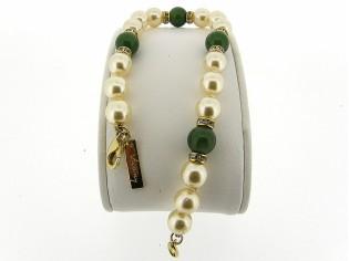 Armbandje met handgeknoopte Boheemse parels en Jade edelstenen gecombineerd met Swarovski rondellen