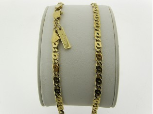 Gouden halsketting platte fantasie gourmet collier met dubbel geslepen schakel