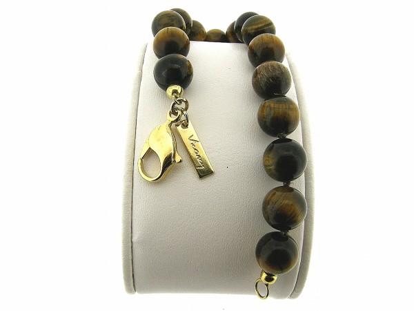 Armband met hoogglanzende Tijgeroog handgeknoopte edelstenen