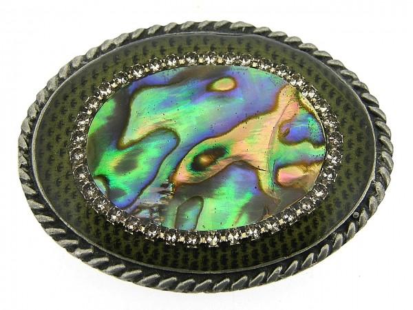 Tinnen broche met ingelegde Paua schelp op slangenleder met Swarovski kristallen omringt