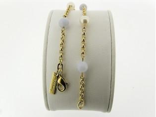 Gouden armbandje met jasseron schakeltjes en parels met bleu lace agaat edelstenen