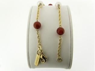 Gouden armbandje met koordkettinkje en parels met carneool edelstenen