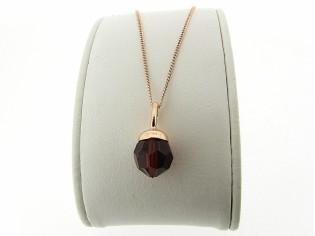 Rosé gouden ketting met hangertje robijn Swarovski kristal