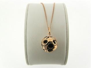 Rosé gouden ketting met hangertje voetbal 925/1000 Sterling zilver met 18kt gouden toplaag