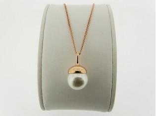 Rosé gouden ketting met hangertje parel