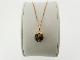 Rosé gouden ketting met hangertje smoked topaas Swarovski kristal
