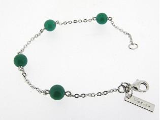 Armbandje met groene Agaat edelsteentjes in zilver