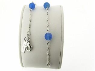 Armbandje met blauwe Agaat edelsteentjes in zilver