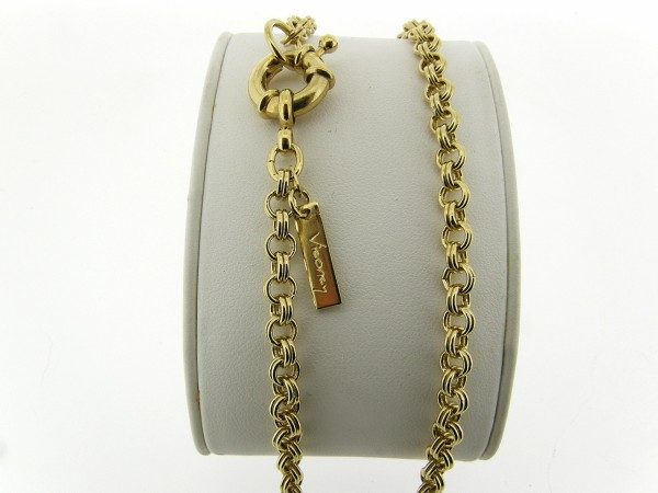 Gouden halsketting met fantasie dubbele jasseron schakels
