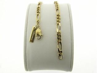 Gouden armbandje met figaro schakeltjes en beiden zijden diamant geslepen