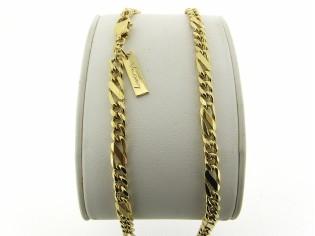 Gouden halsketting figaro collier met vlak geslepen tussen schakel gediamanteerd geslepen