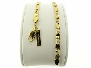 Gouden armbandje met fantasie open gewerkte koning schakeltjes