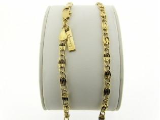 Gouden halsketting fantasie open gewerkte koning schakel