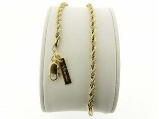 Gouden armbandje met gevlochten koordketting