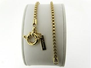 Gouden armbandje met Venetiaanse schakeltjes en grote veersluiting