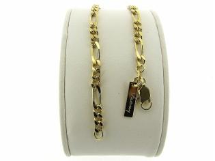 Gouden armbandje met figaro schakeltjes en beiden zijden gediamanteerd geslepen