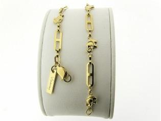 Gouden armbandje met fantasie olifantjes geschakelde ketting