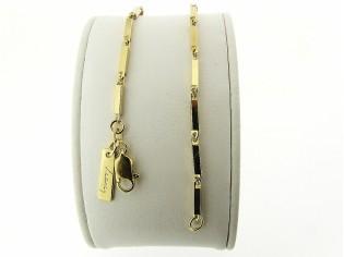 Gouden armbandje met vierkante staafjes schakeltjes