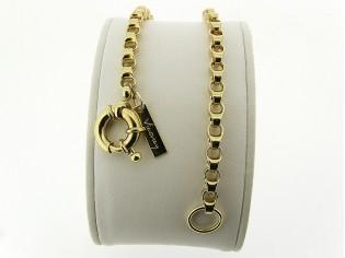 Gouden armband met grote Jasseron schakel en vast dubbeloog met grote veersluiting