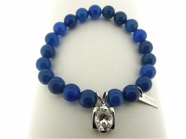 Armband met Blauwe Agaat edelstenen en zilver bedeltje